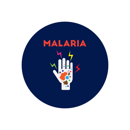 affects: Vector icon  on  circle various symptoms of Malaria on the human