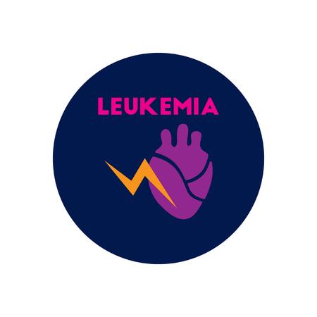 leukemia: icono del vector en diversos s�ntomas c�rculo de leucemia en los cuerpos Foto de archivo