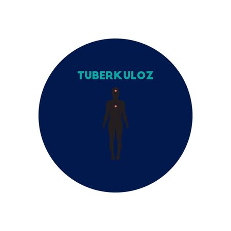 communicable: Vector icon  on  circle various symptoms of Tuberculosis on the human Stock Photo