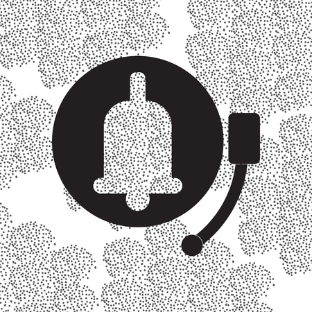 ding dong: Back to School and Education vector flat icon in black and white style school bell