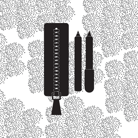 case studies: Back to School and Education vector flat icon in black and white style pencil case