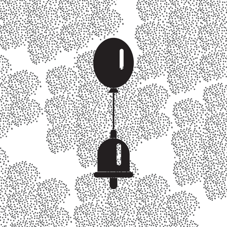 alert ribbon: Back to School and Education vector flat icon in black and white style bell and balloon Illustration
