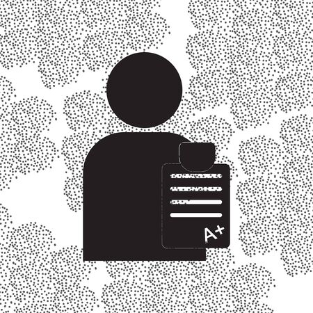 schoolwork: Back to School and Education vector flat icon in black and white style schoolboy with report card Stock Photo