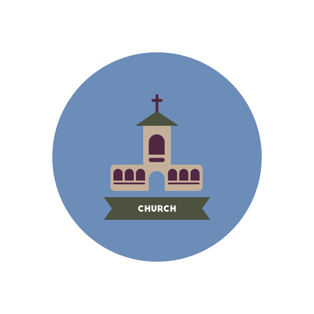 country church: stylish icon in color  circle building  church