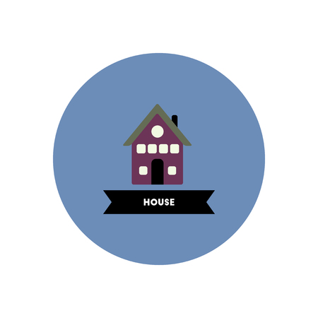 domestic garage: stylish icon in color circle  building house