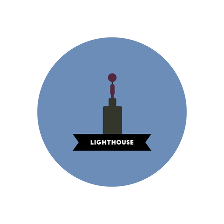 afterglow: stylish icon in color circle  building lighthouse Illustration