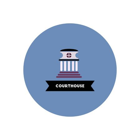 courthouse: stylish icon in color circle  building courthouse Illustration
