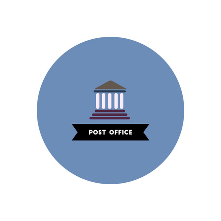 post office building: stylish icon in color circle  building post office Illustration