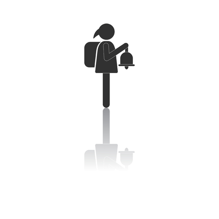 ding dong: Back to School and Education vector flat icon in black and white style schoolgirl with bell