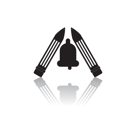 Back to School and Education vector flat icon in black and white style bell and pencils