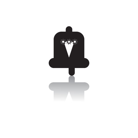 bell ringer: Back to School and Education vector flat icon in black and white style bell and bouquet