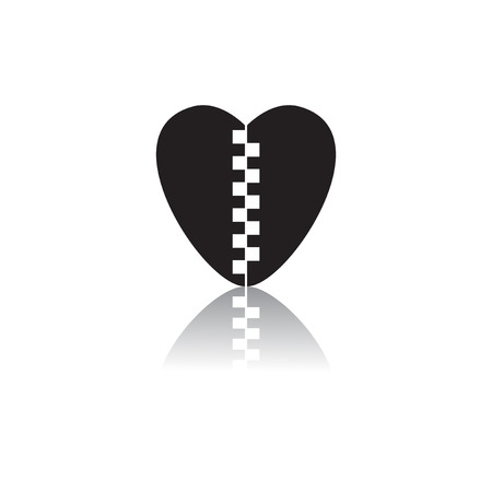 Black and white vector illustration in flat style of Love heart