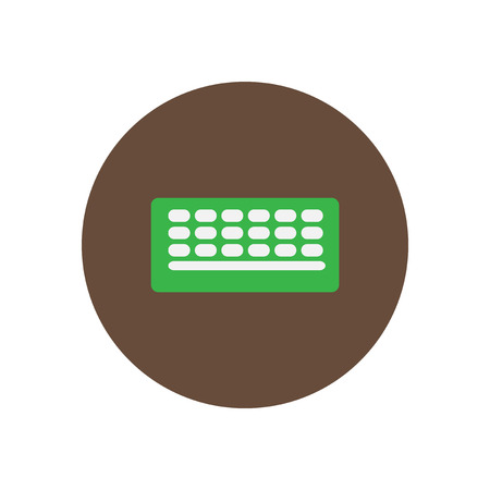 floppy drive: Vector icon on the white backgrounds in circles retro keyboard