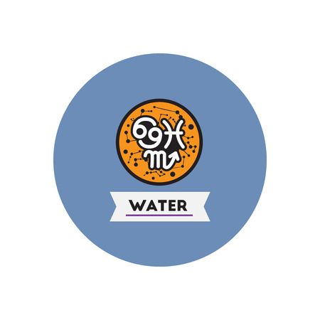 zodiacal: stylish icon in color  circle element zodiacal Water Illustration