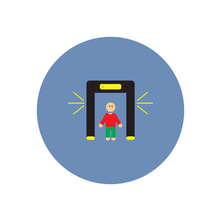 scanner: stylish icon in color  circle people scanner Illustration