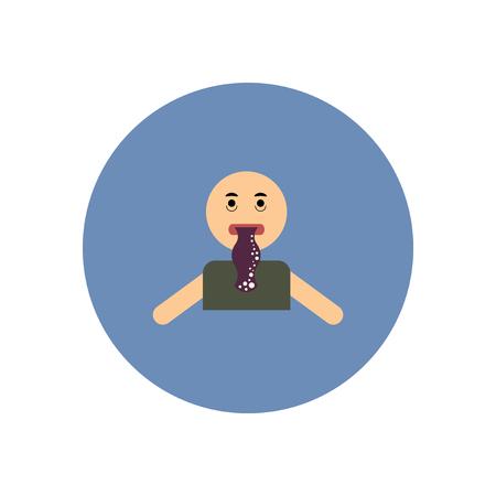 gastritis: stylish icon in color  circle people nausea Illustration