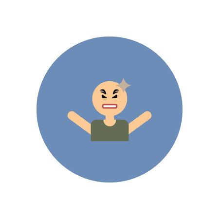 headache man: stylish icon in color  circle man headache