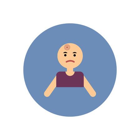 commercial medicine: stylish icon in color  circle man headache