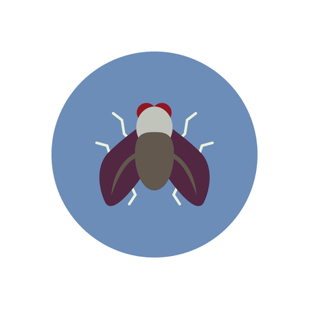 housefly: stylish icon in color  circle fly insect Illustration