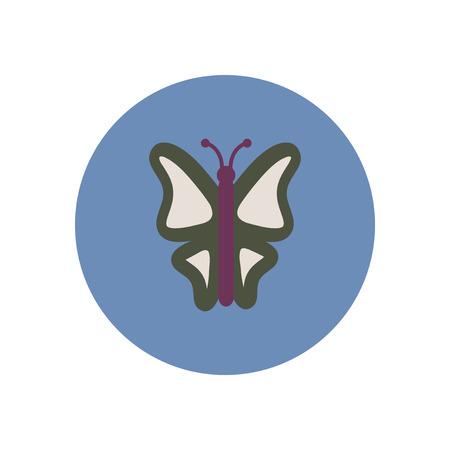 botanic: stylish icon in color  circle botanic butterfly