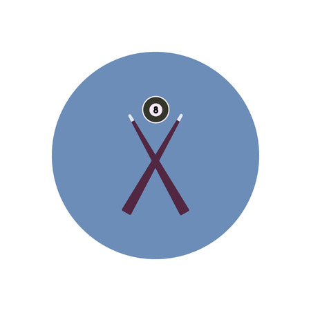 cue sticks: stylish icon in color  circle Billiard ball cue Illustration
