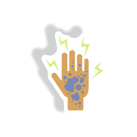 affects: Vector paper sticker various symptoms of Malaria on the human