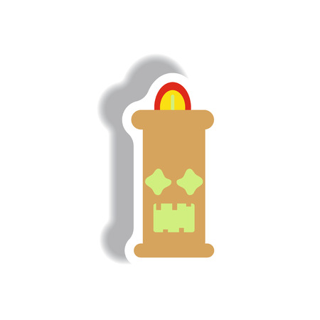 luminary: Vector illustration paper sticker Halloween icon candle Illustration