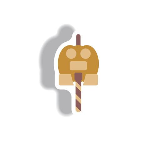 Vector illustration paper sticker Halloween icon pumpkin candy