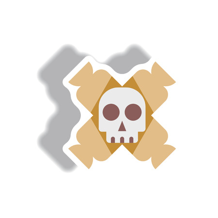 Vector illustration paper sticker Halloween icon candy and skull
