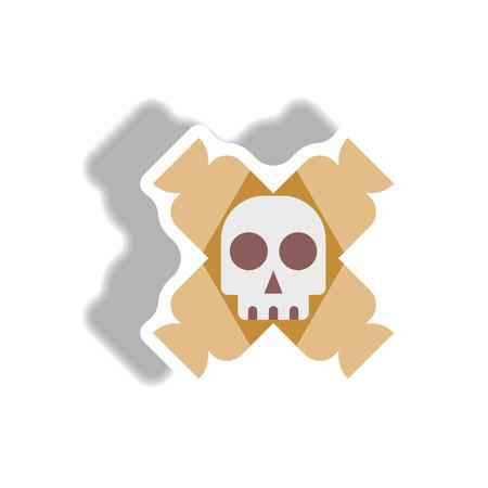 Vector de la etiqueta engomada de papel ilustración de Halloween dulces de icono y el cráneo Vectores