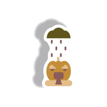 Vector illustration paper sticker Halloween icon pumpkin and raining cloud Illustration