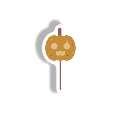 terrible: Vector illustration paper sticker Halloween icon pumpkin on stick