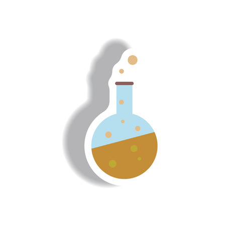 Vector illustration paper sticker Halloween icon potion in test tube