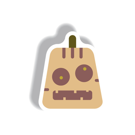 31st: Vector illustration paper sticker Halloween icon pumpkin face Illustration