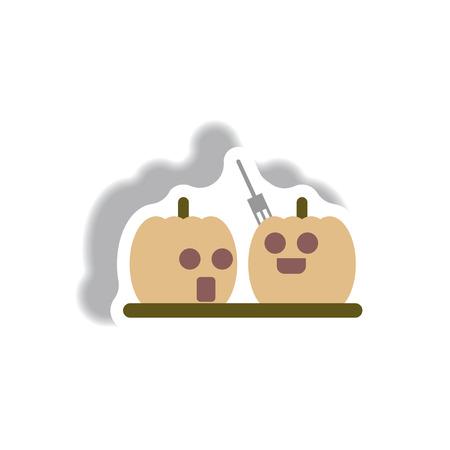 31st: Vector illustration paper sticker Halloween icon pumpkins Illustration