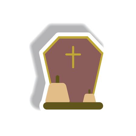 Vector illustration paper sticker Halloween icon grave monument and pumpkins Illustration