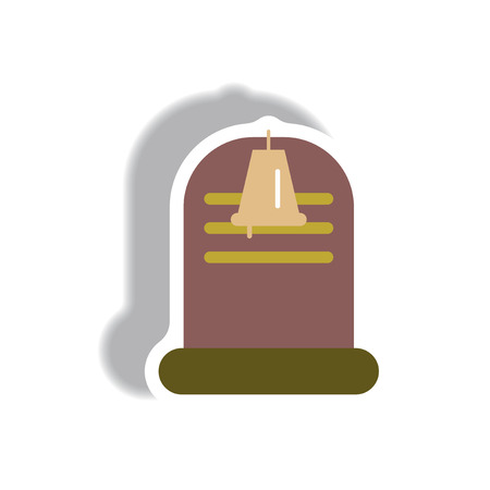 Vector illustration paper sticker Halloween icon grave monument and bell
