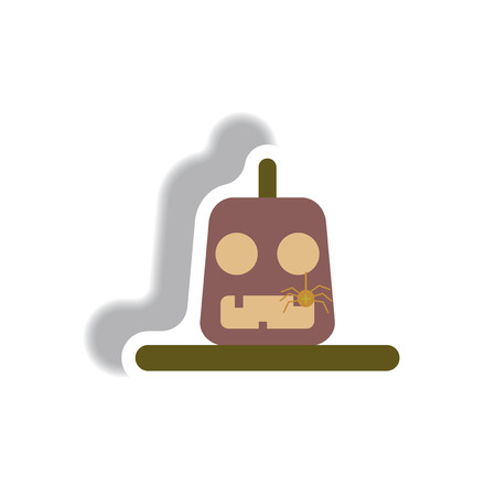 31st: Vector illustration paper sticker Halloween icon pumpkin and spider Illustration