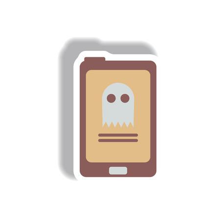 spook: Vector illustration paper sticker Halloween icon ghost online Illustration