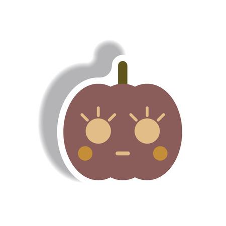 31st: Vector illustration paper sticker Halloween icon pumpkin