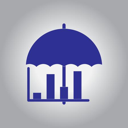 infochart: Vector illustration in flat design of column chart and umbrella