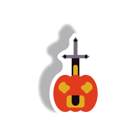 Vector illustration paper sticker Halloween icon pumpkin and sword