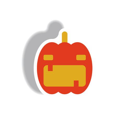 smilling: Vector illustration paper sticker Halloween icon pumpkin