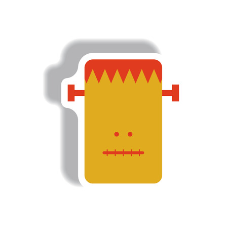 Vector illustration paper sticker Halloween icon Frankenstein monster