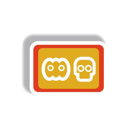 samhain: Vector illustration paper sticker Halloween icon cookie