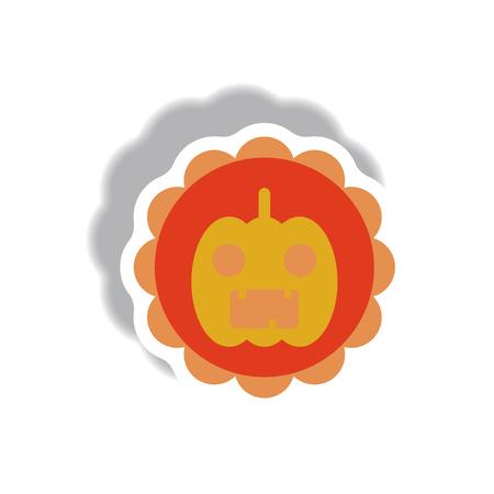 31st: Vector illustration paper sticker Halloween icon coaster with pumpkin