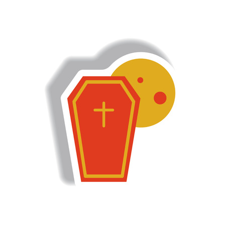 Vector illustration paper sticker Halloween icon coffin and moon
