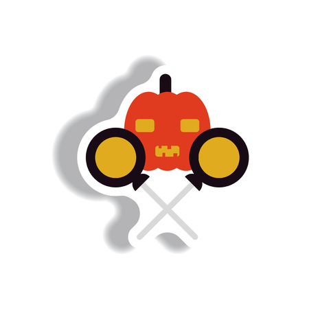 Vector illustration paper sticker Halloween icon pumpkin and candy