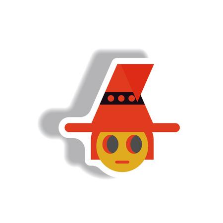 hag: Vector illustration paper sticker Halloween icon kid wearing hat