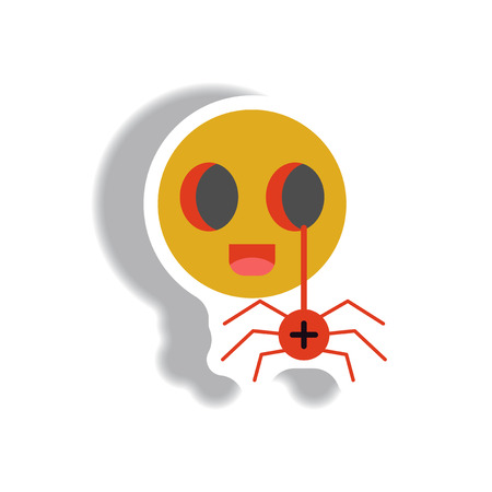 october 31: Vector illustration paper sticker Halloween icon spider on toy